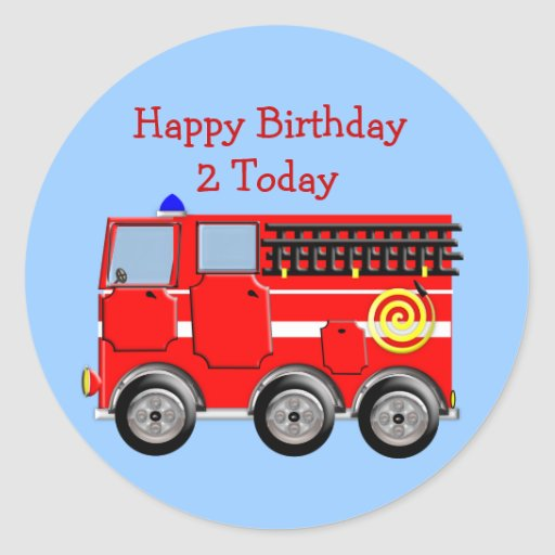Cute Kids Fire Engine Sticker/Label Cupcake Topper