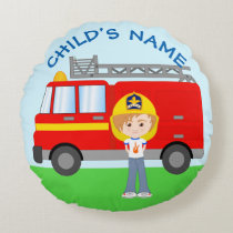 Cute Kid's Firefighter Cartoon Double-Sided Round Pillow