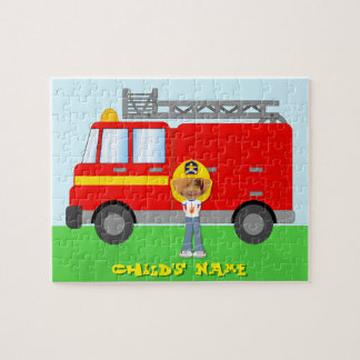 Cute Kids Firefighter n Fire Truck Photo Template Puzzle