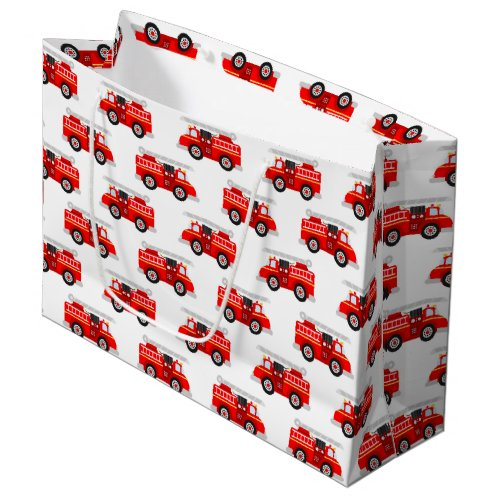Cute kids firetruck pattern party large gift bag