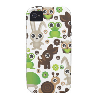 Cute kids frog turtle deer bunny and owl pattern Case-Mate iPhone 4 case