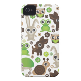 Cute kids frog turtle deer bunny and owl pattern iPhone 4 Case-Mate cases