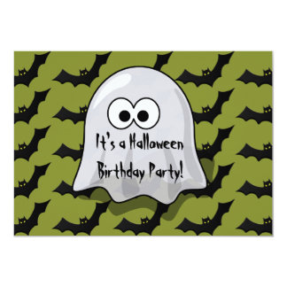 Cute Kids Halloween Birthday Party Ghost and Bats Card