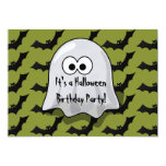 Cute Kids Halloween Birthday Party Ghost and Bats Personalized Invitations