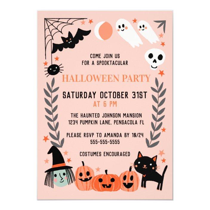 Cute Kids Halloween Party Invitation Zazzle Com