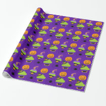 Cute Kids Halloween Purple Wrapping Paper