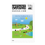 Cute Kids In The Park Colorful Custom Party Postage Stamp