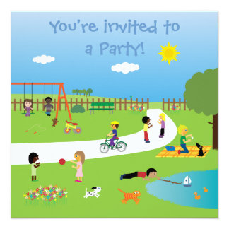 Cute Kids In The Park Colorful Customizable Party Card