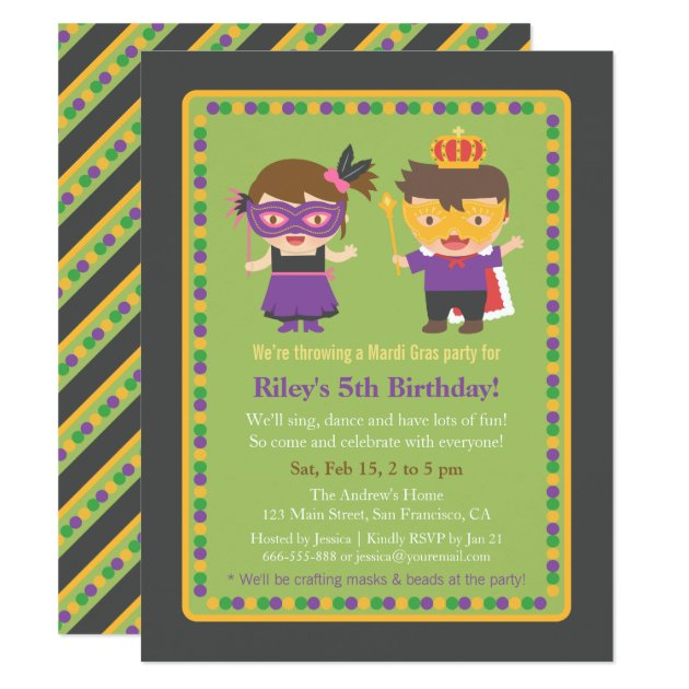 cute kids mardi gras birthday party invitations | zazzle, Party invitations