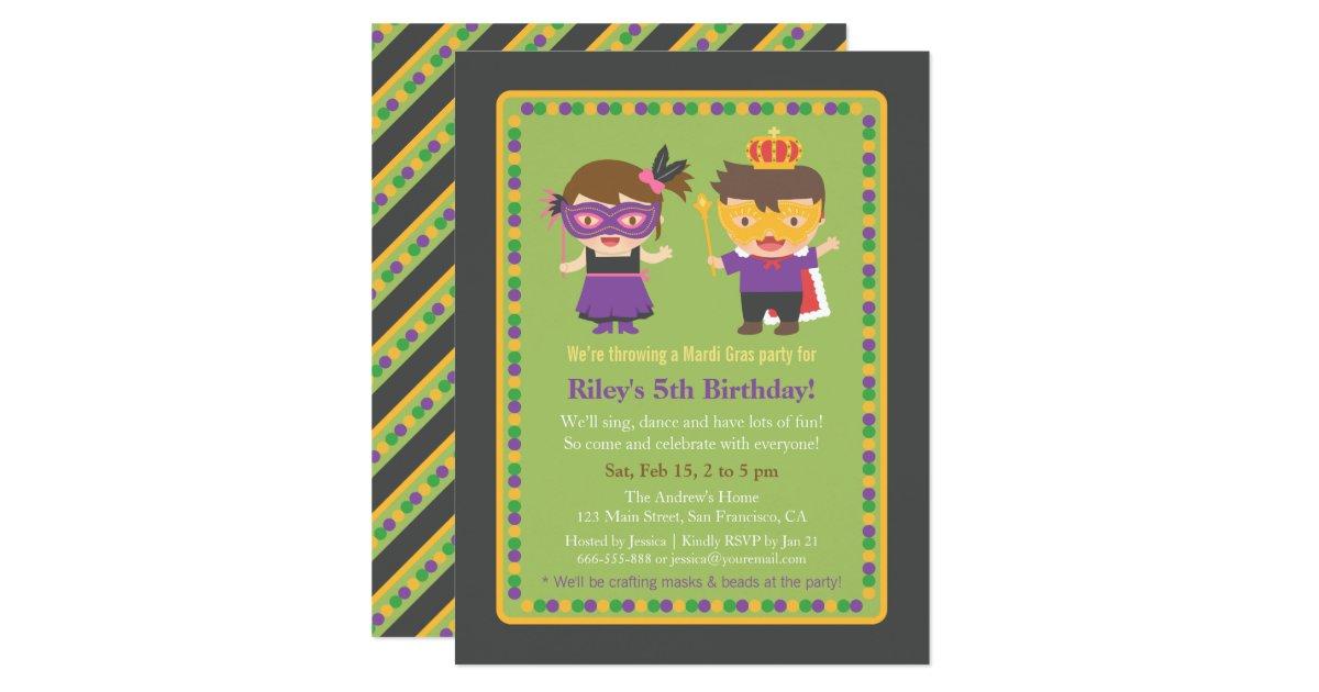 Cute Kids Mardi Gras Birthday Party Invitations – Mardi Gras Birthday Invitations