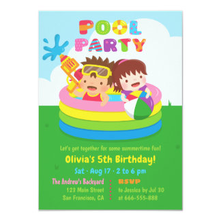 Cute Kids Mini Inflatable Pool Birthday Party Card
