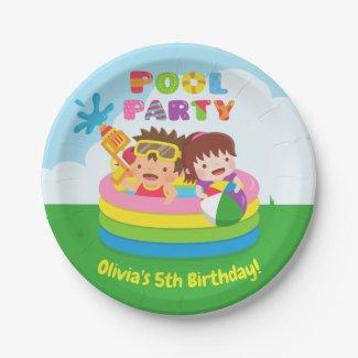Cute Kids Mini Pool Birthday Party Paper Plates