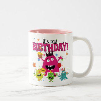 Cute Kids Monster Birthday Two-Tone Coffee Mug
