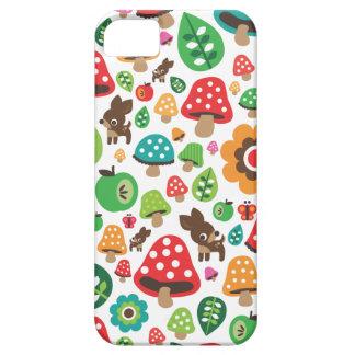 Cute kids pattern with flower leaf deer mushroom iPhone 5 case