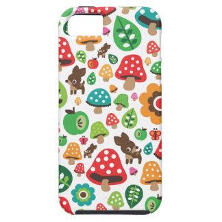 Cute kids pattern with flower leaf deer mushroom iPhone 5 covers
