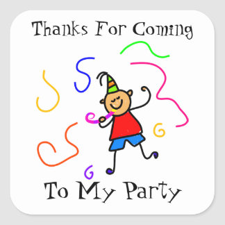 Cute Kids Personalized Birthday Party Favor Seal Square Sticker