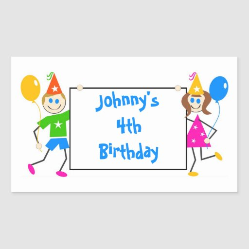 Cute Kids Personalized Birthday Party Favor Seal Rectangle Stickers