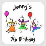Cute Kids Personalized Birthday Party Favor Seal Square Stickers