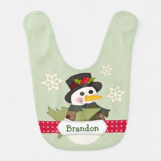 Cute Kids Personalized Snowman Bib