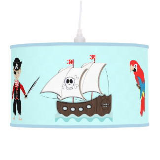 Cute Kids Pirate Themed Graphic Hanging Lamp