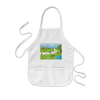 Cute kids playing in park apron