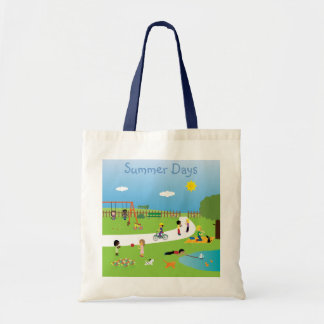 Cute Kids Playing In Park Summer Days Bag