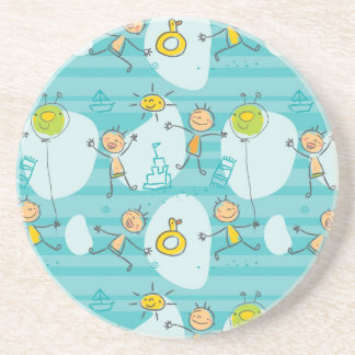 Cute kids playing on the beach pattern beverage coasters
