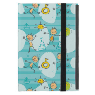Cute kids playing on the beach pattern case for iPad mini