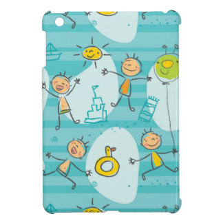 Cute kids playing on the beach pattern cover for the iPad mini