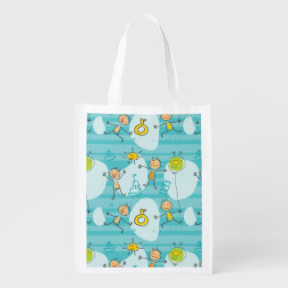 Cute kids playing on the beach pattern grocery bag