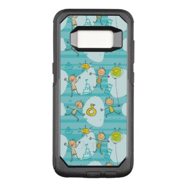 Beach Themed Cute kids playing on the beach pattern OtterBox commuter samsung galaxy s8 case