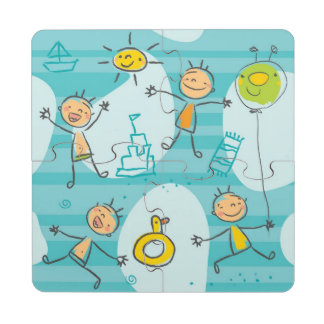Cute kids playing on the beach pattern puzzle coaster