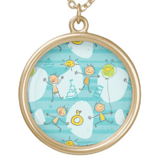 Cute kids playing on the beach pattern round pendant necklace