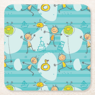 Cute kids playing on the beach pattern square paper coaster