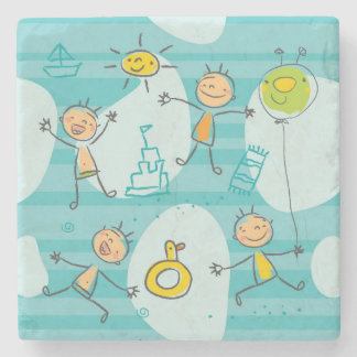 Cute kids playing on the beach pattern stone coaster