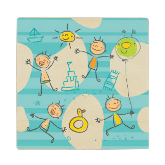 Cute kids playing on the beach pattern wooden coaster