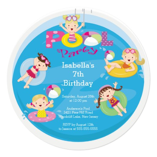 Cute Kid's Pool Birthday Party Invitation
