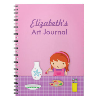 Cute Kids Pottery Painting Arts For Girls Notebook