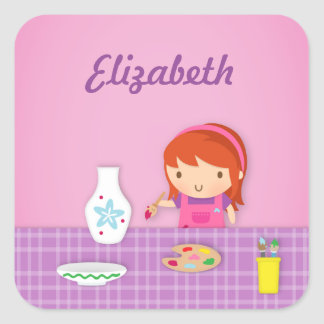 Cute Kids Pottery Painting Arts For Girls Square Sticker