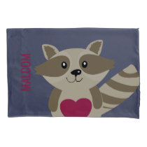 Cute Kids Raccoon Woodland Animal Personalized Pillowcase