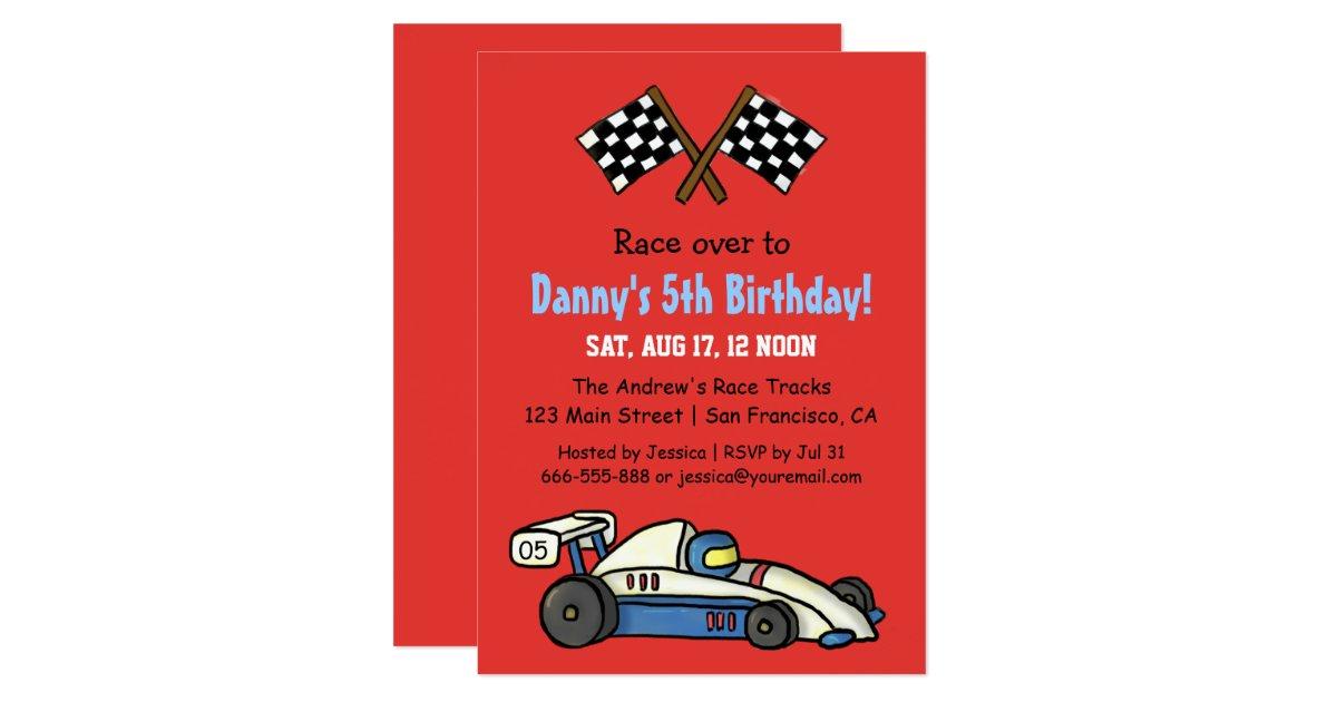 Cute Kids Race Car Birthday Party Invitations – Race Car Birthday Party Invitations