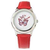 cute kids red butterflies design watch