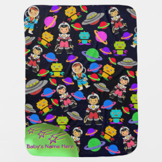 Cute Kids Retro Astronauts, Robots and Planets Swaddle Blanket