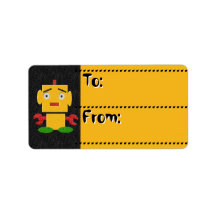 Cute Kids Retro Robot-Yellow_To-From Tags Labels