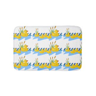 Cute Kids Rubber Duck Family Swimming on Pond Bath Mat
