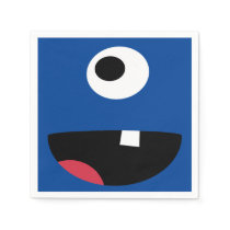 Cute Kids Silly Monster Face Monsters Party Blue Paper Napkin