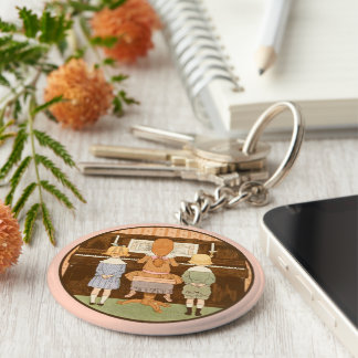 CUTE KIDS SINGING, VINTAGE PIANO LESSON KEYCHAIN