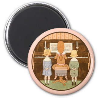 CUTE KIDS SINGING, VINTAGE PIANO LESSON MAGNET