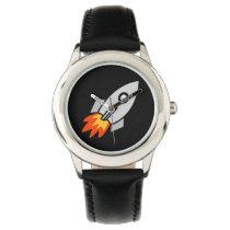 cute kids space rocket fun design wristwatch