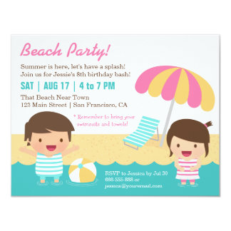 Cute Kids Swimsuits Beach Birthday Party Card